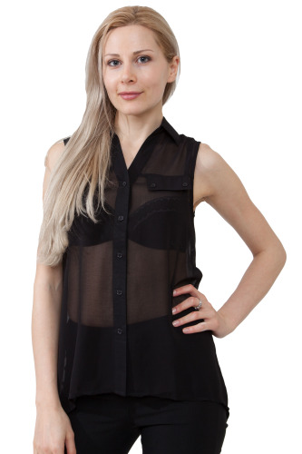 Chiffon top with slit open back-Small