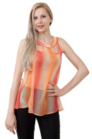 Sleeveless top with cut outs and button decorations in the back