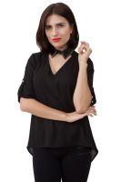 Chiffon top has leather like decorated speared collar