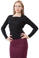 Long sleeve sweater with ribbed cuffs and hem
