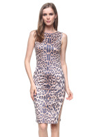 Sleeveless midi dress with sexy matt cheetah print and side slit