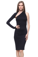 Asymmetric one sleeve midi dress contemporary design.