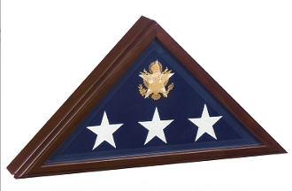 Open Front Flag Display Case For Casket Flag Cherry Wood
