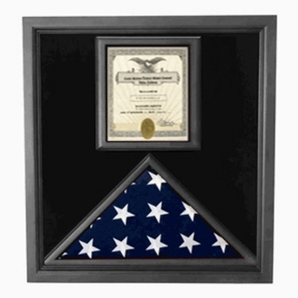 Flag And Certificate Case - Black Frame American Made
