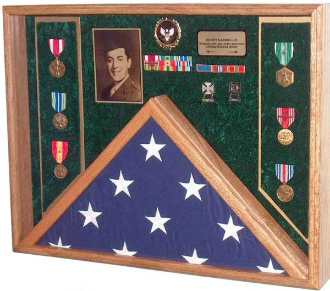 Deluxe Combo Awards Flag Display Case Veterans Depot