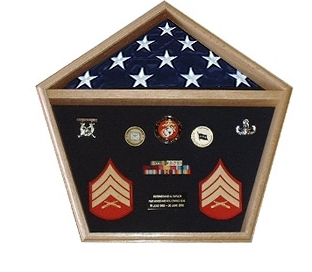 Pentagon Military Shadow Box Pentagon Flag Display Case