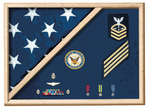 5 X 9.5 Flag Memorial Case Made With Military Uniform Fabric