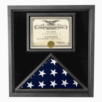 Premium Usa-made Solid Wood Flag And Document Case Black Finish