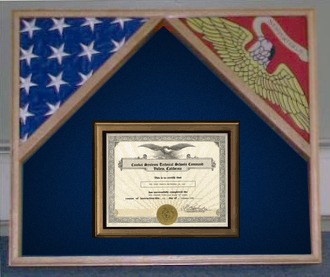 Military Flag Case For 2 Flags And Certificate Display Case