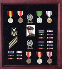 Extra Large Medal Display Case Cherry Finish