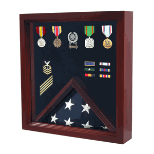 Flag Medal Display Case, Wood Military Flag Medal Shadow Boxes