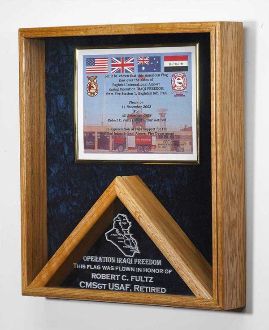 Large Military Flag Shadow Box And Medal Display