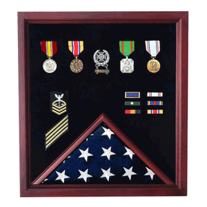 Medal And Flag Display Case - Cherry Medal And Flag Display