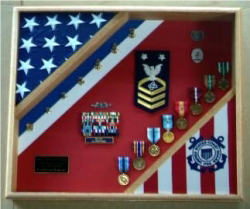 Uscg Cutter Shadow Box, Uscg Flag And Medal Display Frame