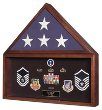 Large Military Flag And Medals Display Case In Cherry