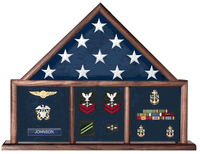 Military Flag And Medal Display Case, Shadow Box