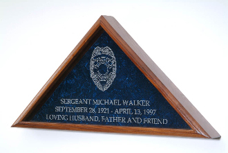 Large Flag Display Case With Engraved Law Enforcement Emblem