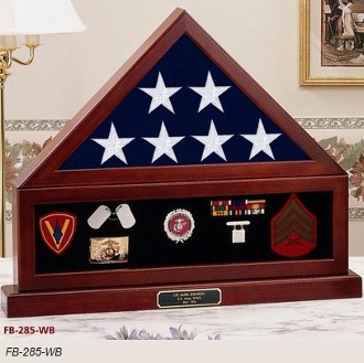 Combination Flag Display Case Shadow Box, Flag Medal Pedestal