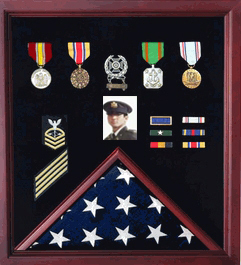 Flag Photo And Badge Display Case-Vetrans