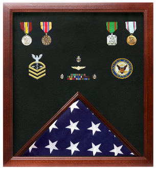 Military Flag And Medal Display Case - Veterans