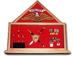 Military Shadow Box, Military Flag And Knife Certificate,