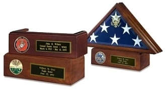 Veteran Flag Case and Pedestal With Medallion