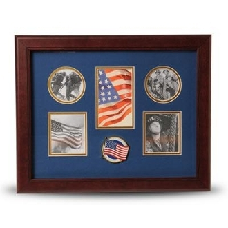 5 Picture Collage Frame American Flag Medallion