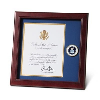 U.S. Air Force Medallion Presidential Memorial Certificate Frame
