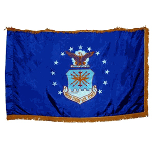Indoor Air Force Flag 3x5 Nylon with Indoor Pole Hem and Fringe