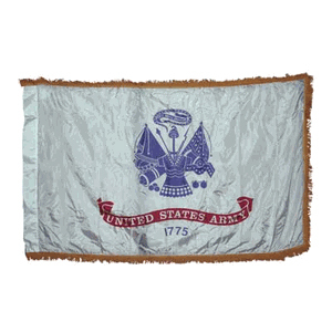 Indoor Army Flag - 3x5ft Nylon with Indoor Pole Hem and Fringe