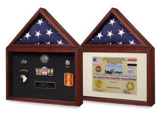 Military shadow boxes, flag cases