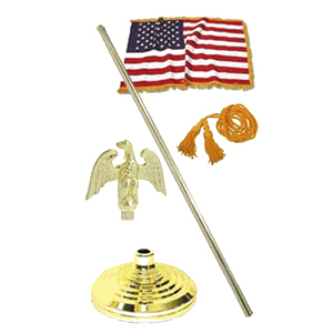 Indoor 4ft x 6ft American Flag Kit with Telescoping Flagpole