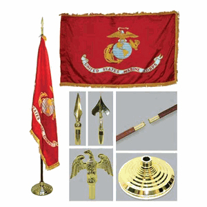 Marine 3ft x 5ft Flag, Flagpole, Base, and Tassel
