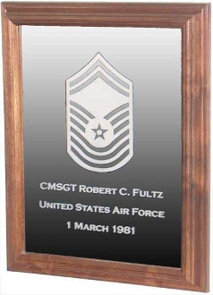 Military Laser Engraved Rank Insignia Mirror Frame