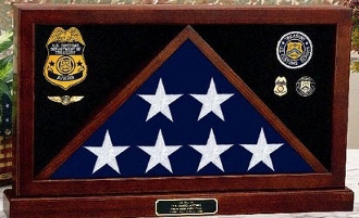 Flag Display Case with a centered partition