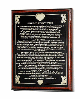 Military Wife Engraved Plate Plaque