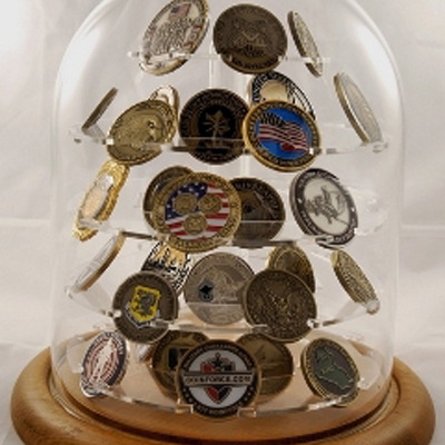 challenge coin display, Glass Dome Coin Display