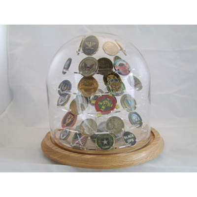 Glass Dome Coin Display, Large Challenged Coin display
