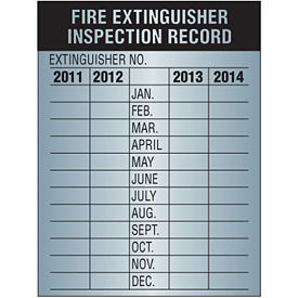 Fire extinguisher inspection record keeping
