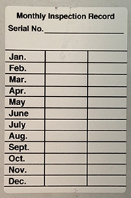 Monthly Inspection Record Label White Coated Sticker 3 X 2 Each