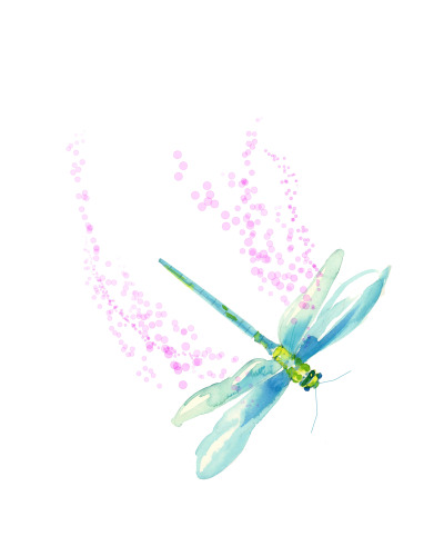 Dragon Fly Pink-Down-12x12
