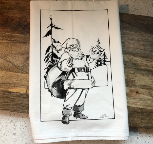 Santa BW Flour Sack Tea Towel