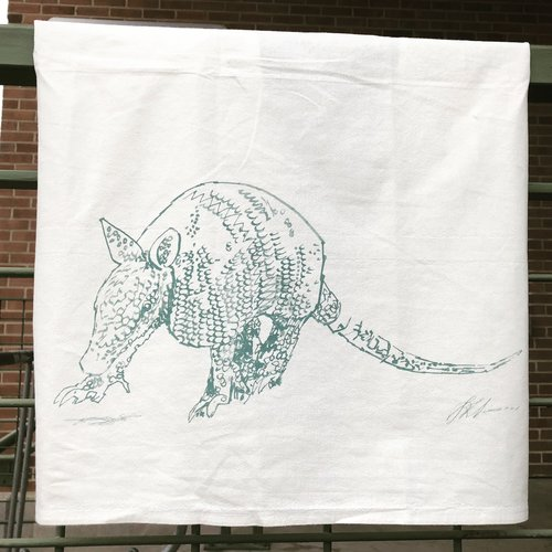 Armadillo Flour Sack Kitchen Towel