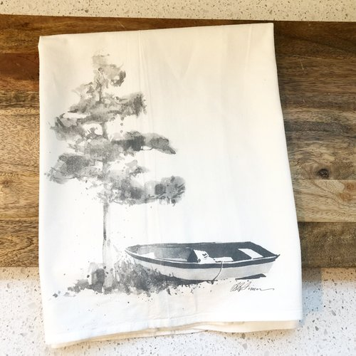 Lakeside Boat and Pine Tree Flour Sack Towel