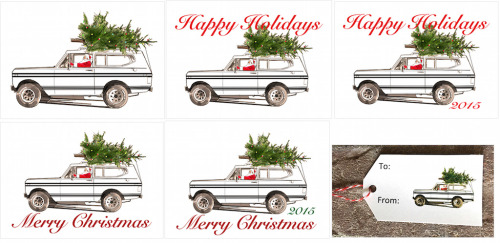 International Scout Black Stripe-2x3.5 Present Tag-Happy Holidays