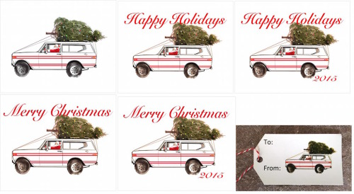 International Scout Red Stripe Holiday-2x3.5 Present Tags-Merry Christmas