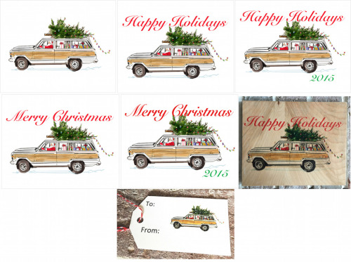 Jeep Grand Wagoneer Holiday-2x3.5 Present Tag-Happy Holidays