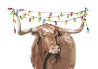 longhorn holiday lights 3 5x7 holiday card premium paper