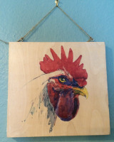 Rooster Stare Wood-8x10