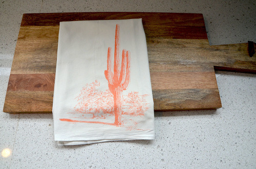 Tall Cactus Flour Sack Tea Towel-Sunset Orange